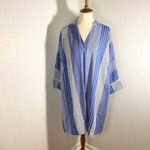 NWT NIC+ZOE Fiji Linen Striped Dress with Pockets